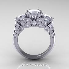 solitare ring classic 14k white gold three princess diamond solitaire