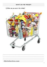this worksheet is about shopping for food and healthy food vs