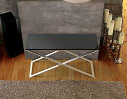 brushed stainless steel console table console table alexa lacquered black brushed stainless steel