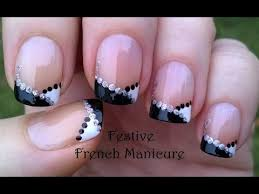 festive french manicure nail art diy black u0026 white party nails