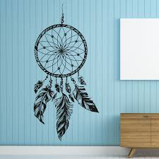 F115 Wall Mount Dreamcatcher Wall Decal Native America Feathers Hippie