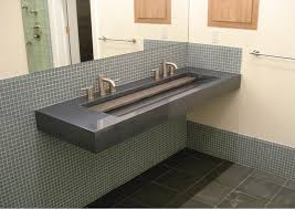 grey floating undermount double trough sink mixed metal towel