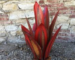 rustic agave cactus ornament metal yard art southwestern