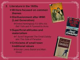 literature themes in the 1920s the jazz age unit 4 chapter 7 lecture i a clash of values a