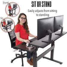 Standing To Sitting Desk Tranzendesk Dual Level 47 Inch Sized Standing Desk Black Manual Sit Stand Steady Sstranspblsv 389 Jpg V 1520438637