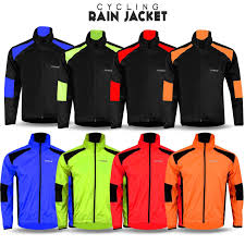 cycling outerwear mens cycling waterproof rain jacket high visibility running top