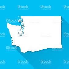 Seattle Washington Map by Washington Map On Blue Background Long Shadow Flat Design Stock