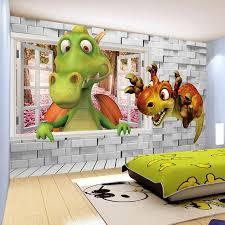 wallpapers for kids bedroom custom photo wallpaper 3d cartoon cute dinosaur brick wall