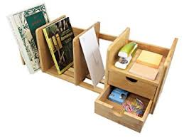 Office Desk Tidy Bamboo Desk Organizer With Extendable Storage