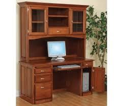Oak Corner Computer Desk With Hutch Amish Style Solid Wood Corner Computer Desk 58 U201dw X 32 U201dd X 36 U201dh