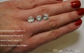 5 Carat Cushion Cut Engagement Rings Cushion Stone Size Comparison Cz Engagement Ring Hand Shots