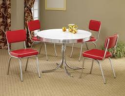 retro dining table and chairs 50s style round chrome retro dining table w four red chairs 500x384