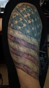 13 us flag tattoo on half sleeve