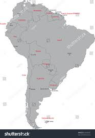 map of cities in south america grey south america map countries capital stock illustration