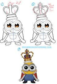 how to draw thanksgiving how to draw cute chibi king bob from the minions movie with easy