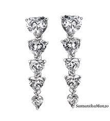 Long Chandelier Earrings Dangle Earrings Fancy Heart Cut Dangle Cz Diamond Long Chandelier Drop Earrings