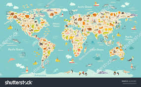 World Continents And Oceans Map map animal kid continent world animated stock vector 462062986