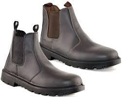 mens leather safety steel chelsea dealer slip on ankle work boots