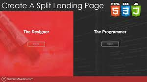 split layout js create a split landing page with html css js youtube