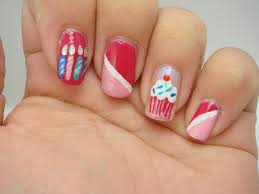 fabulous red color nail paint with candels birthday nails picsmine