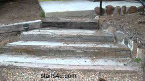 stairway built with concrete and railroad ties landscaping ideas
