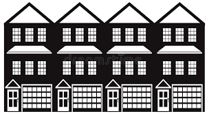 townhouse with tandem garage black and white vector illustration