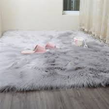 Fur Area Rug 1m X 2m Large Faux Sheepskin Rug Shaggy Grey Faux Fur Area Rug Ebay