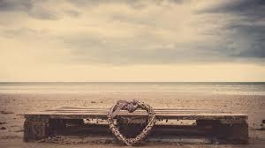 download wallpaper 2048x1152 beach heart sand bench wicker hd