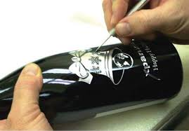wine bottle engraving etching wine bottles design process
