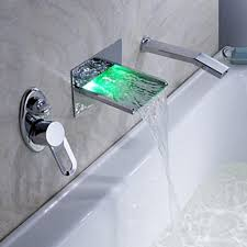 led waterfall tub faucet with pull out hand shower wall mount image of led waterfall tub faucet with pull out hand shower
