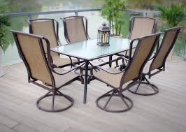 Dining Room Swivel Chairs Outdoor Patio Dining Furniture Sling 7pc Set Bronze Aluminum Steel