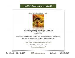 thanksgiving turkey dinner menu