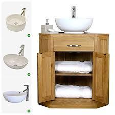 Corner Vanity Units With Basin Solid Oak Corner Vanity Unit With Basin B Amazon Co Uk Kitchen