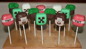minecraft themed cake pops