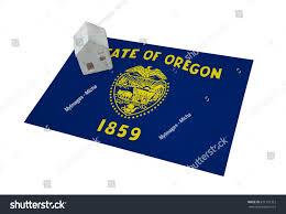 New Oregon Flag Small House On Flag Living Migrating Stock Photo 671791312