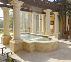 architecture beige stone patio with beige stucco exterior plus
