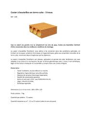 Casier A Bouteille Terre Cuite by Fiche Produit Casier à Bouteille 3 Trous Porotherm By Wienerberger