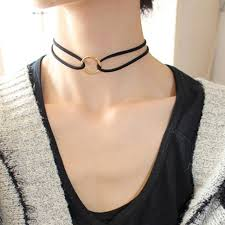 leather choker chain necklace images Simple fashion jewelry gold color hollow round double black jpg