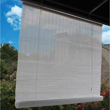 Clear Vinyl Roll Up Blinds Outdoor by 48 In W X 72 In L White Interior Exterior Roll Up Patio Sun