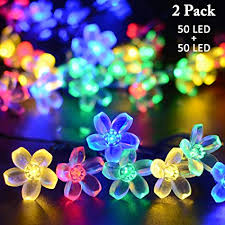 christmas tree flower lights amazon com vmanoo solar outdoor christmas string lights 21ft 50
