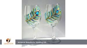 Beautiful Wine Glasses Hand Painted Peacock Feather Stemmed Wine Glasses 20 Oz Set Of 2