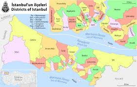 New York Boroughs Map by Map Of Istanbul Boroughs Districts And Neighborhoods
