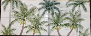 palm tree tile murals