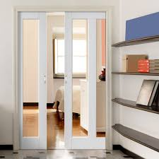dominica shaker white double pocket doors clear glass sliding