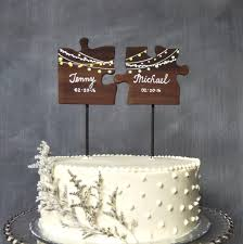 wooden wedding cake topper puzzle pieces topper mr mrs