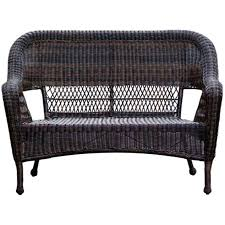 dark brown wicker outdoor patio bench settee at home at home