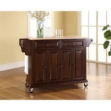 crosley mahogany kitchen cart with natural wood top kf30001ema