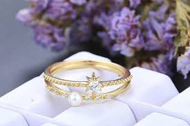rose style rings images Pearl diamond wedding band 14k rose gold stacking rings set of 2 jpg