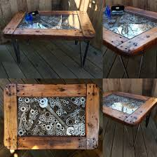 metal u0026 wood coffee table various wrenches nuts washers pipe