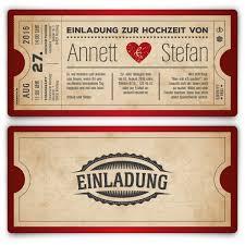 einladung hochzeit kreativ hochzeitskarten als eintrittskarte vintage herz rot